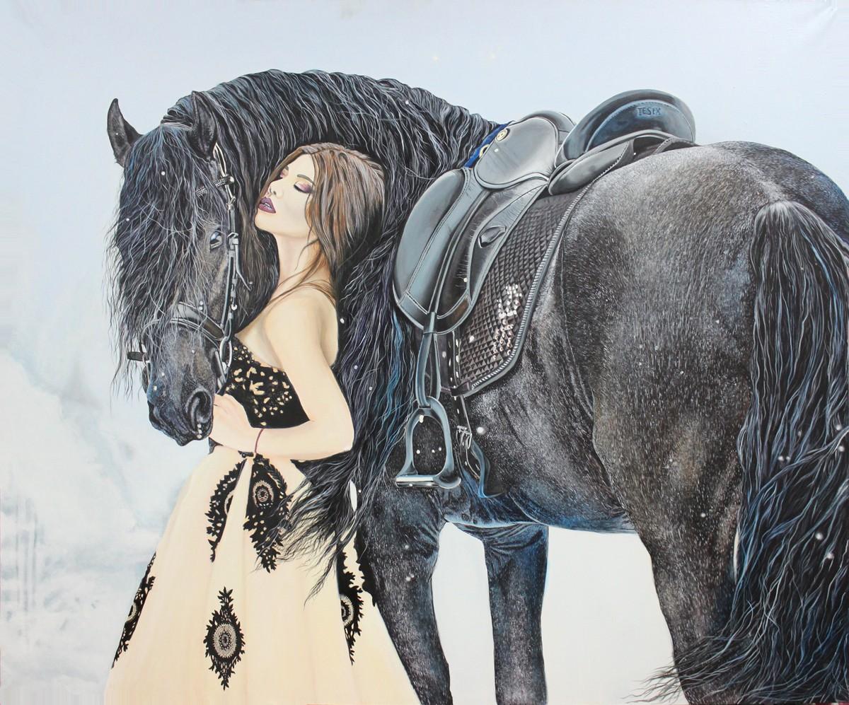 девушка с лошадью зимой