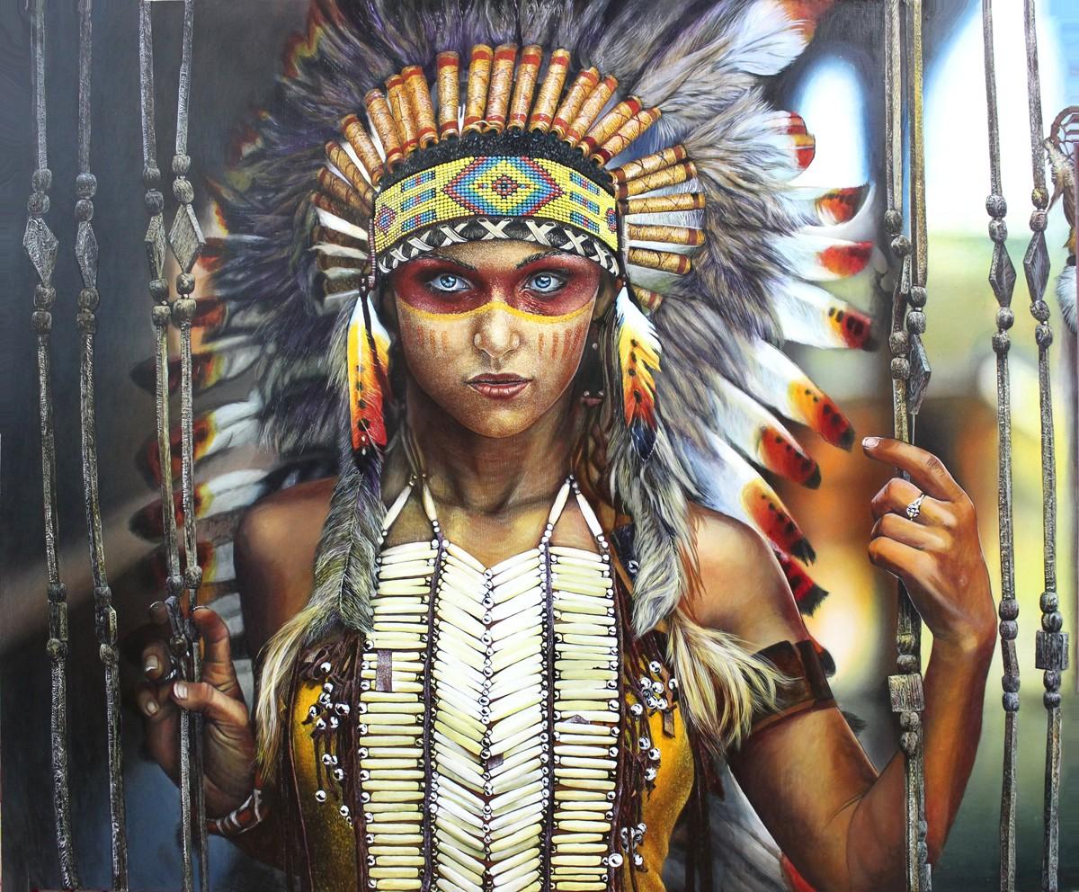 девушка индеец с перьями картина