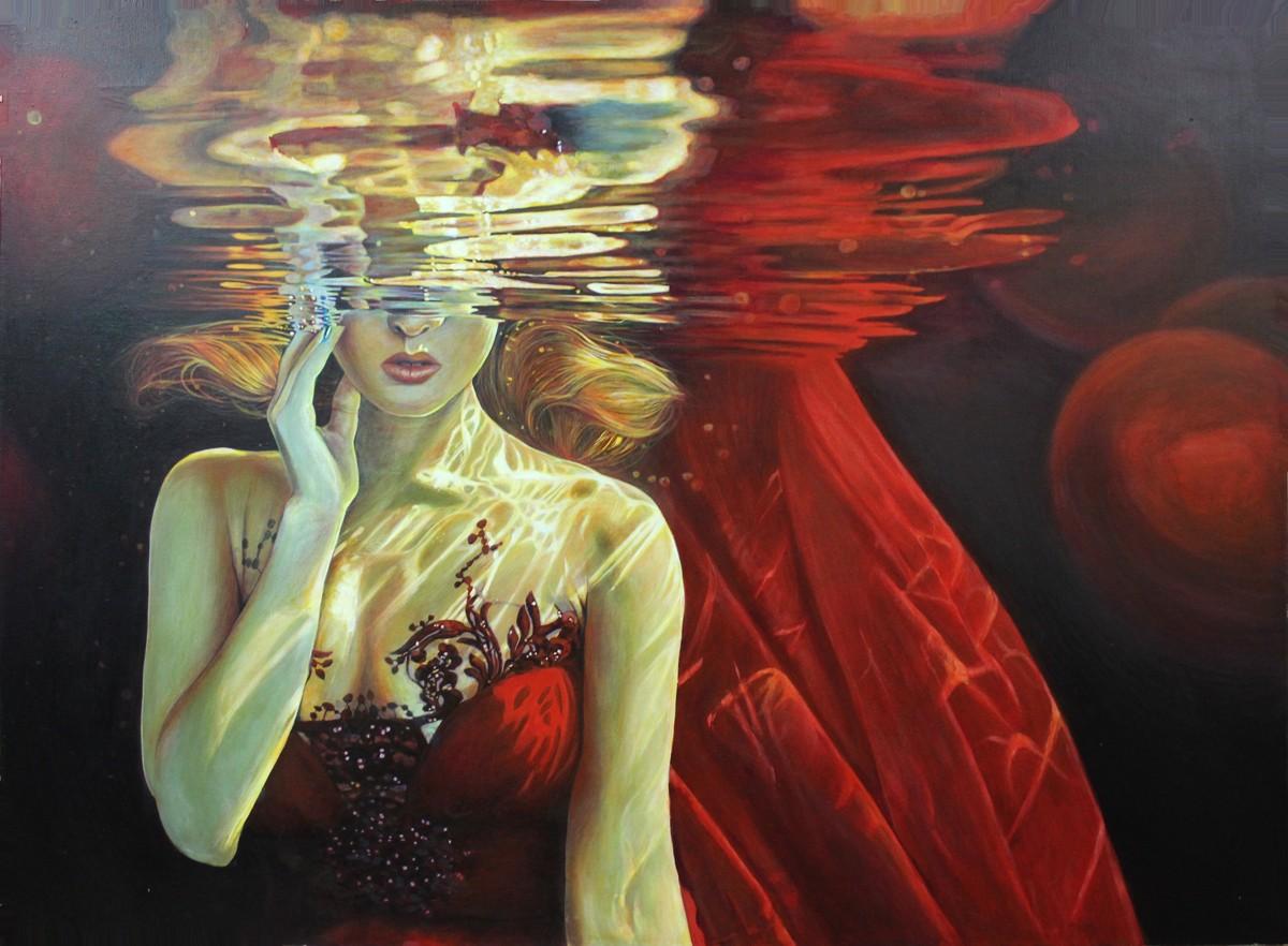 девушка под водой картина
