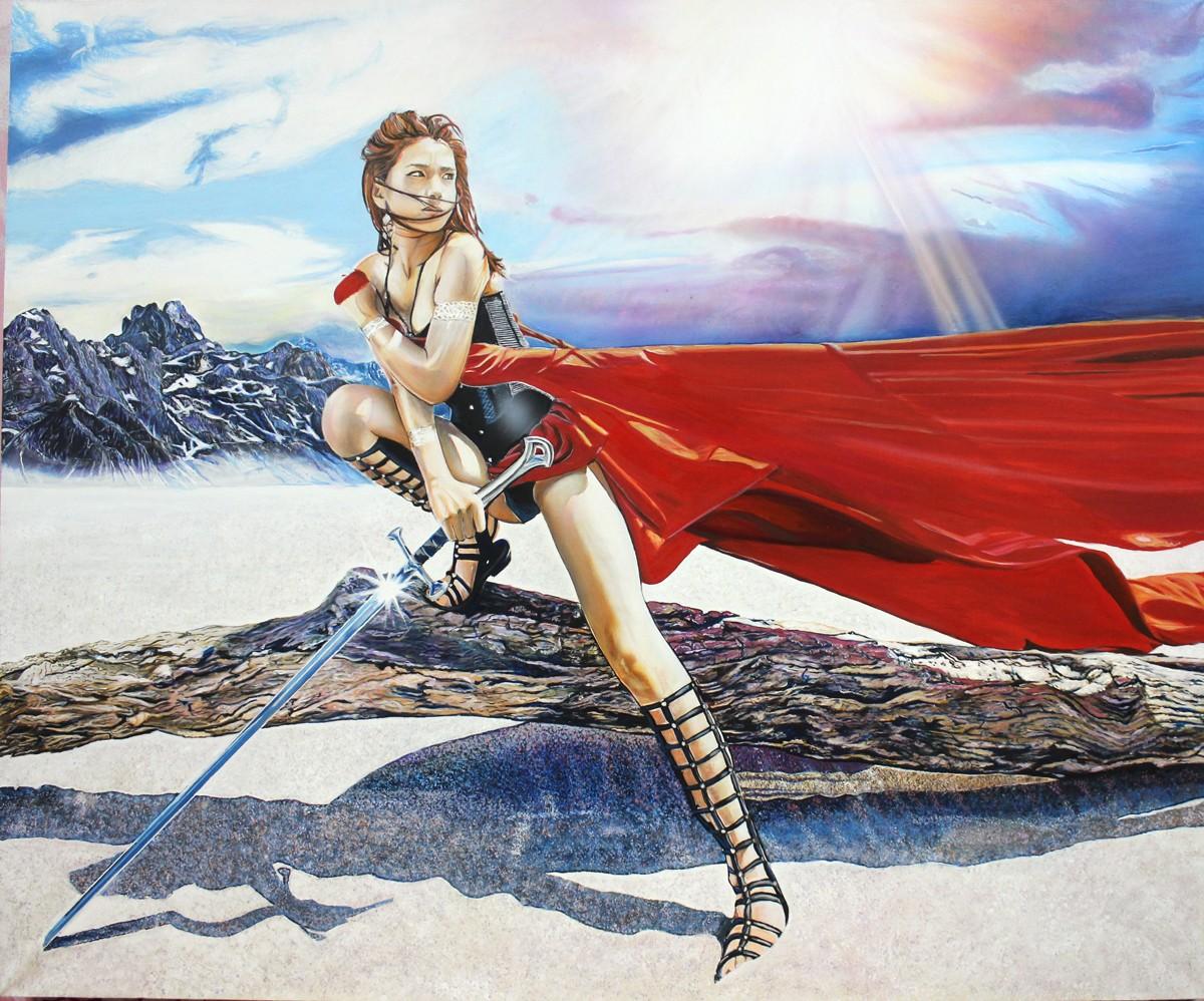 девушка в пустыне картина