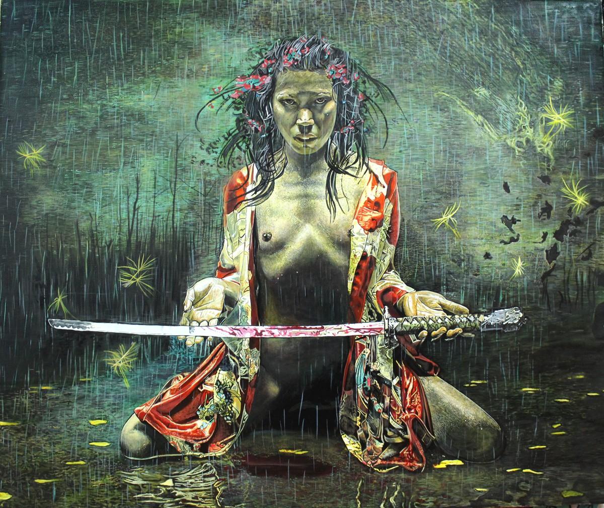 японка с мечом картина