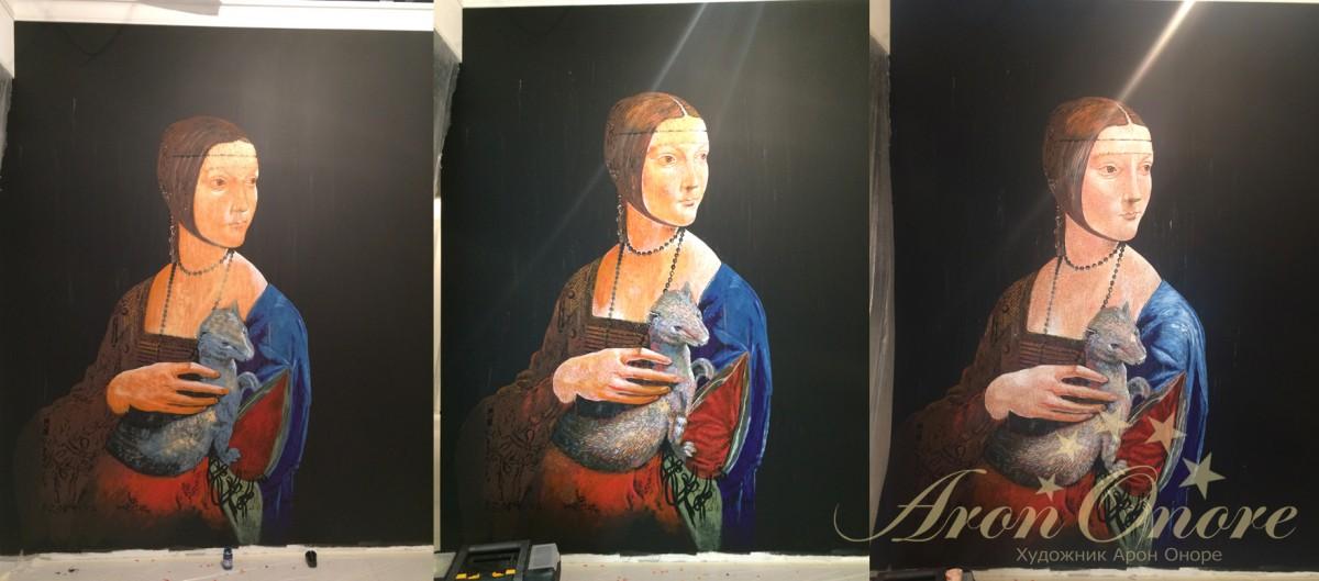 Репродукция картины «Дама с горностаем» Леонардо да Винчи
