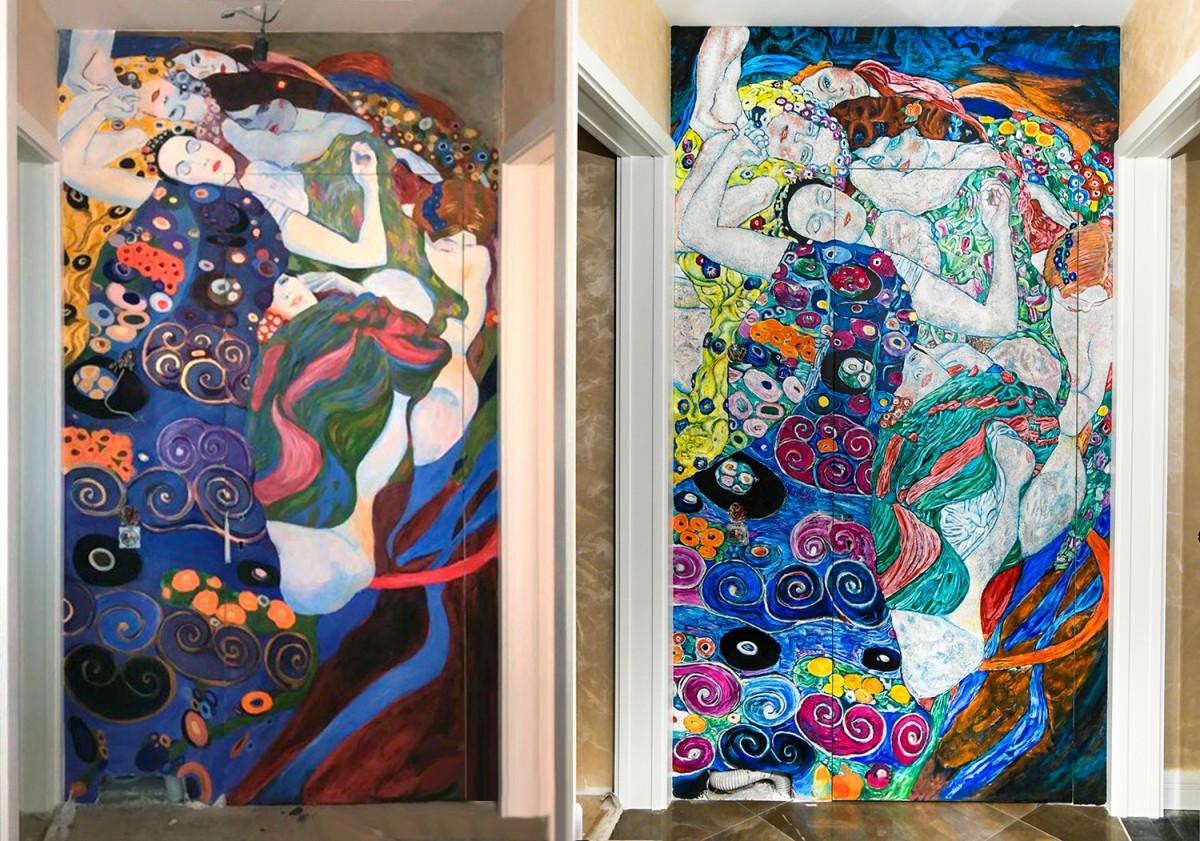 Сравнение двух росписей на стене. Художник Арон Оноре