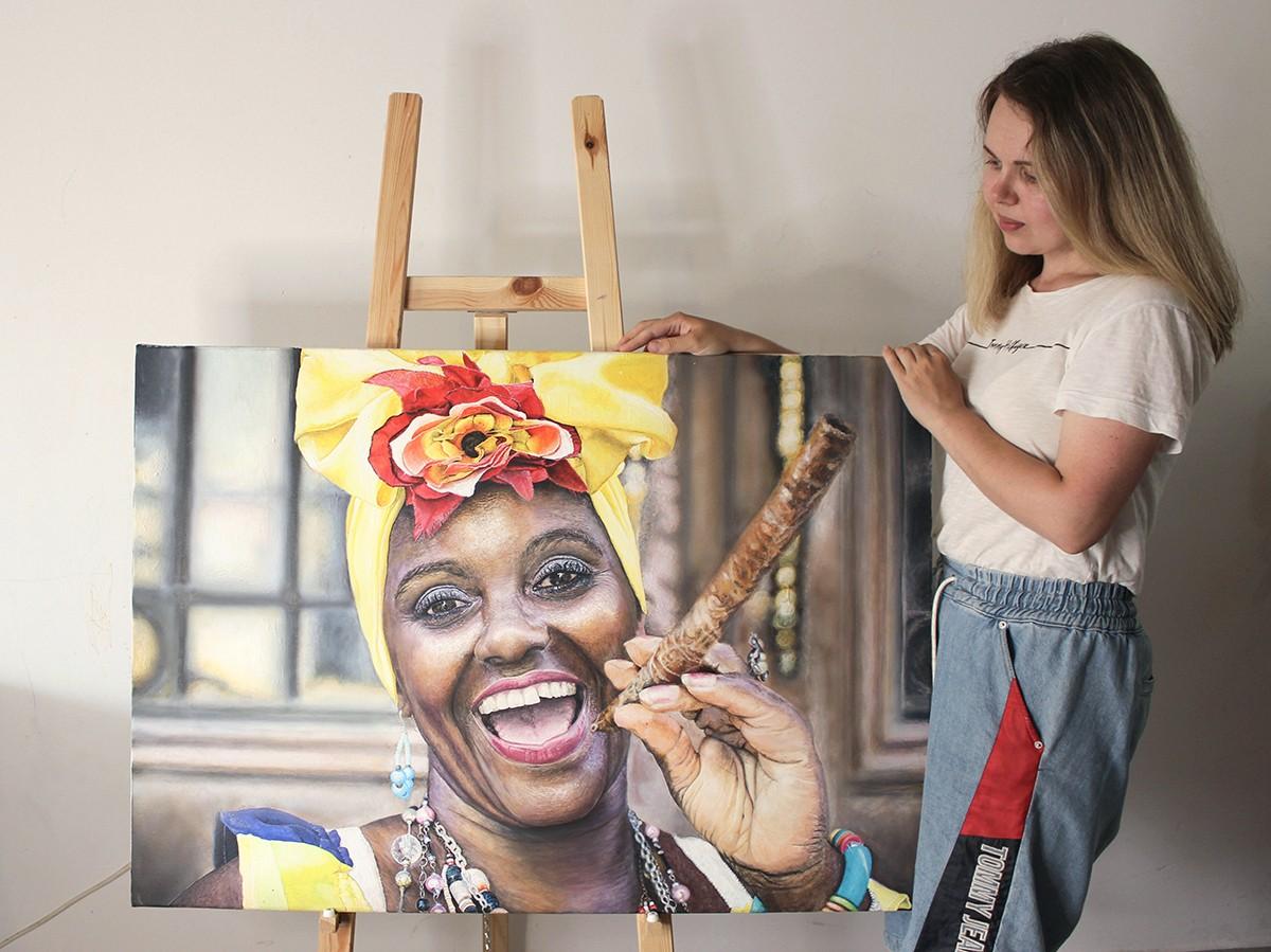 Картина в стиле гиперреализм негритянка