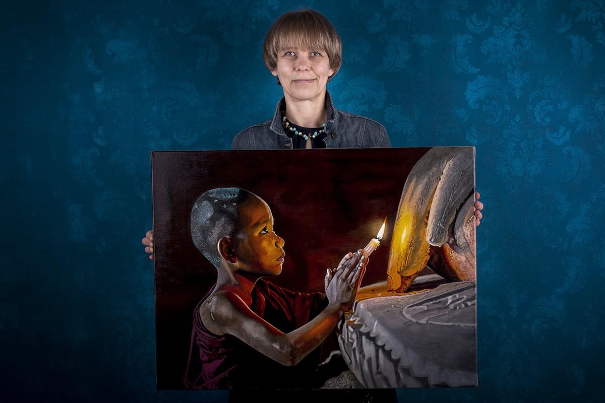 Картина в стиле гиперреализм монах