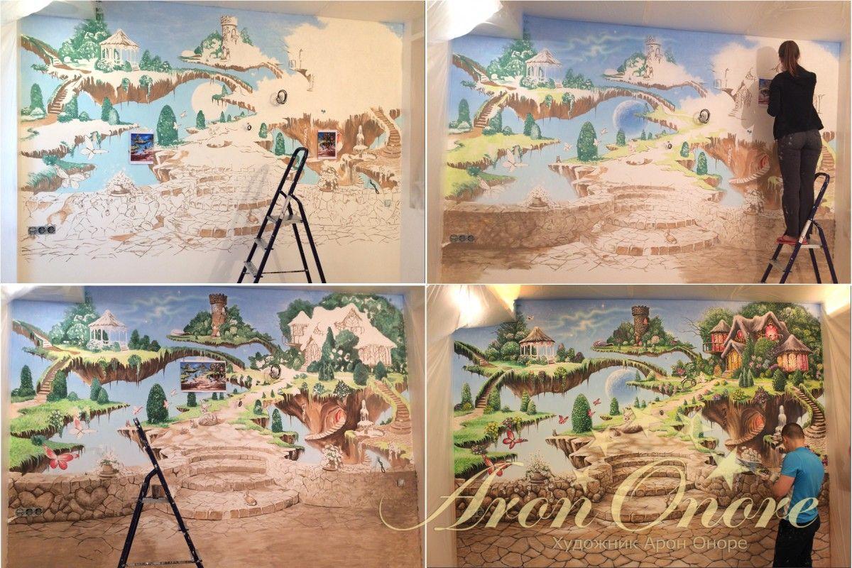 этапы рисования детской комнаты