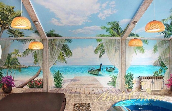 Роспись-обманка расширяющая пространство, пляж, пальмы