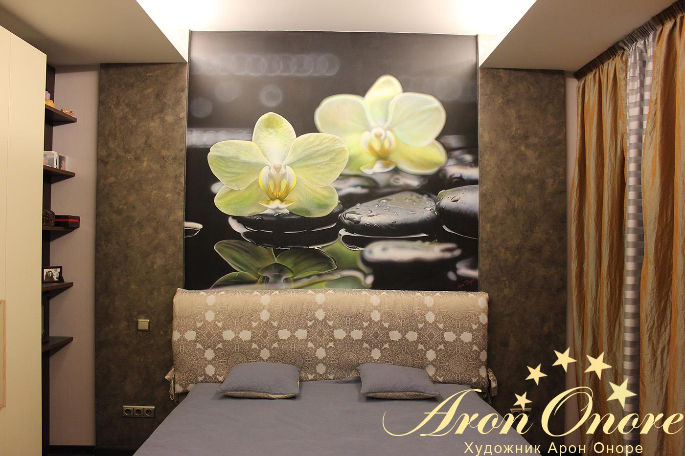 фрески цветы на стену фото в интерьере