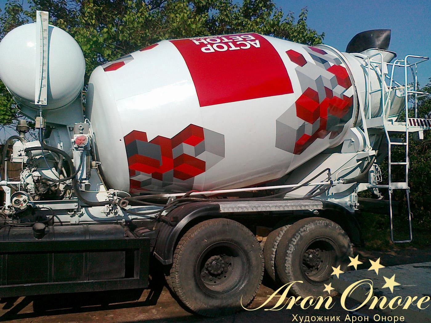 Аэрография на грузовом авто – на бетоновозе