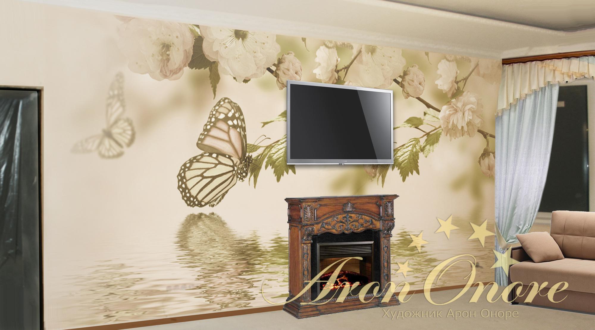 цветочный рисунок на стене