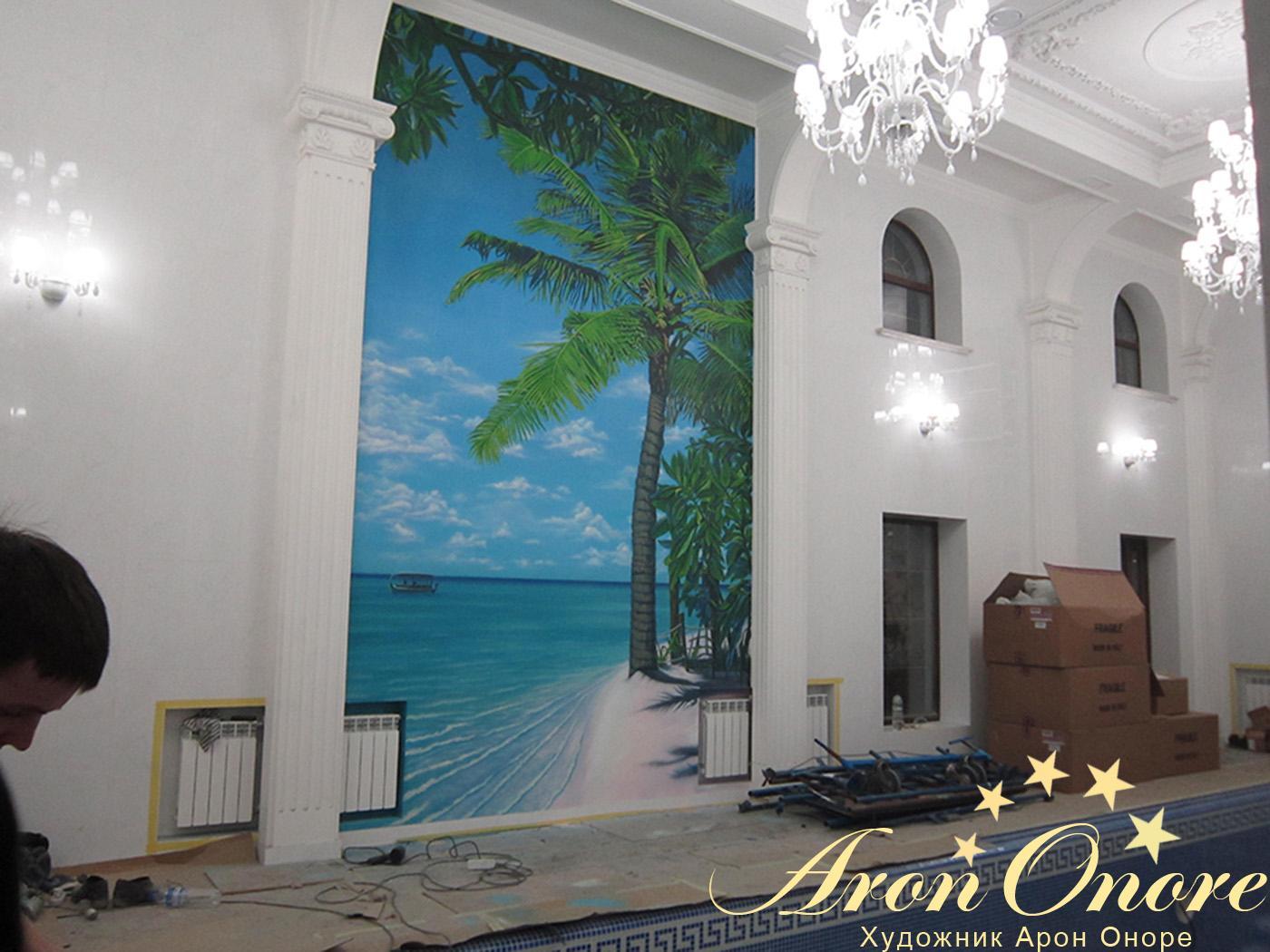 Художественная роспись стен бассейна в Москве