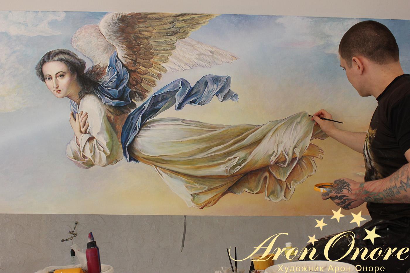 Картина Ангел в небе репродукция в интерьере